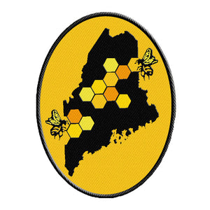 Bee Patch, Nature Patch, Wilderness Patch, Backpack Patch, Embroidered Patch, Iron On Patch, Sew on Patch, Maine, Honey Bee,