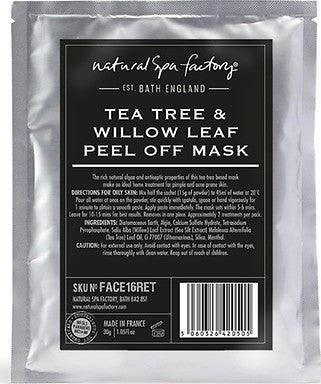 NATURAL SPA FACTORY TEA TREE AND WILLOW LEAF PEEL-OFF FACE MASK - perfumesbaratos.com