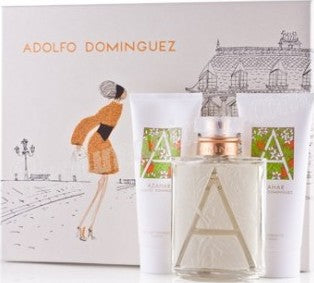 ADOLFO DOMINGUEZ AZAHAR EAU DE TOILETTE 100ML VAPO, FRAICHE + BODY MILK 100ML + GEL 100ML - perfumesbaratos.com