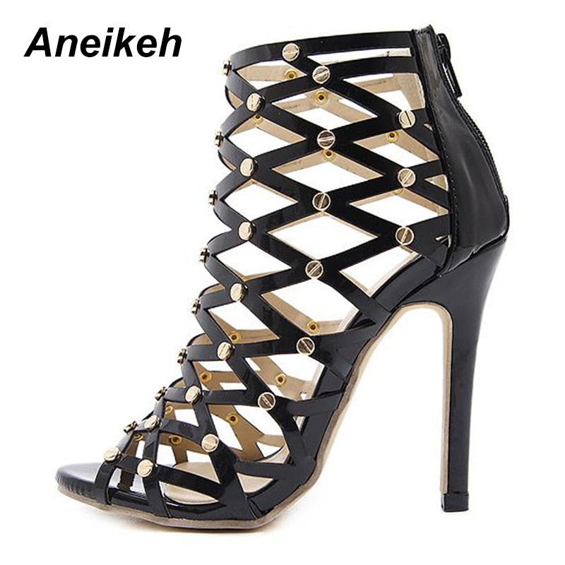 debe2563f32 ... Aneikeh Women Ankle Boots Black Cut-outs Gold Rivet High Heel Gladiator  Sandals ...