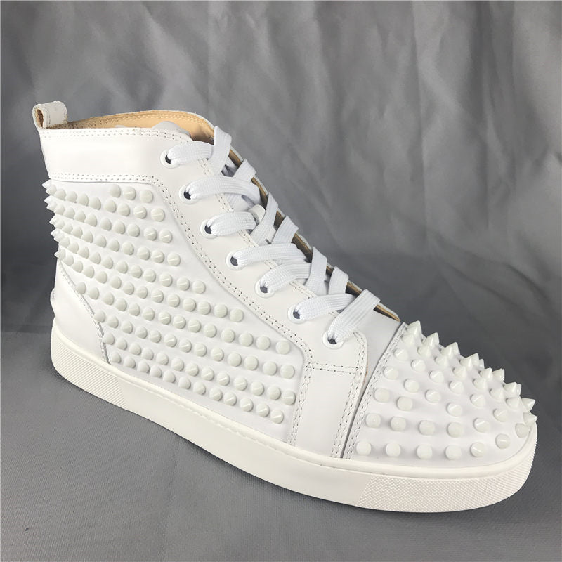 c387c4bd147 F.N.JACK Louis Spike High-top Flat Shoes White Red bottom – DLUX ...