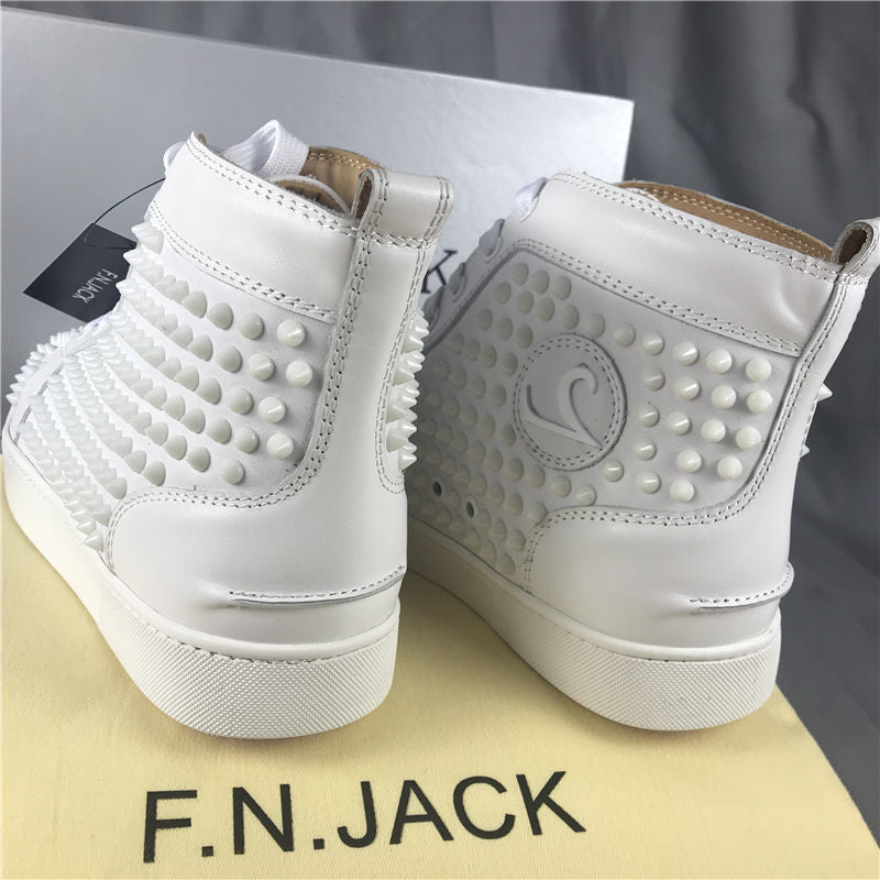 F.N.JACK Louis Spike High-top Flat Shoes White Red bottom – DLUX ... 6c4da4ef5199