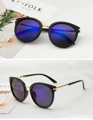 Claudia - Round Cat Eye Shape UV Sunglasses - Sunglass Society