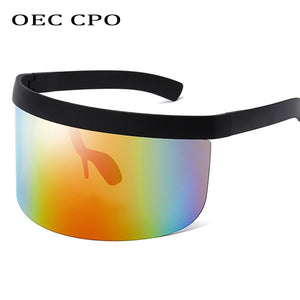 OEC Visor Sunglasses - Rainbow Mirror - Oversized Flat Futuristic Face Shield Mono Galactic Invader - SunShutterz
