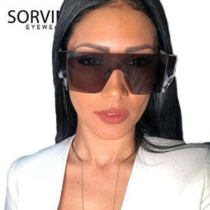 SORVINO Futuristic Oversized Rimless Shield Sunglasses 2020 Men Women 90s Designer Windproof Big Square Sun Glasses Shades SP187 - SunShutterz