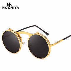 Travis - Steampunk Round Sunglasses - SunShutterz