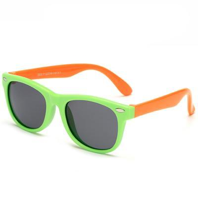 Kids' Flexible Polarized Square Sunglasses - Green & Orange - SunShutterz