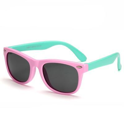 Kids' Flexible Polarized Square Sunglasses - Pink & Green - SunShutterz