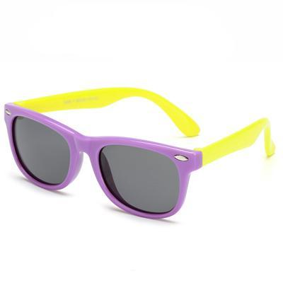 Kids' Flexible Polarized Square Sunglasses - Purple & Yellow - SunShutterz
