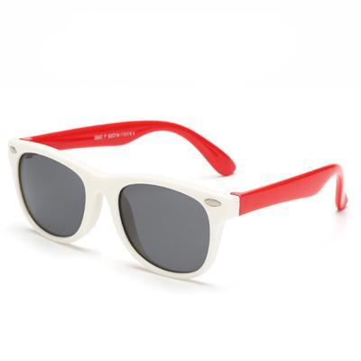 Kids' Flexible Polarized Square Sunglasses - White & Red - SunShutterz