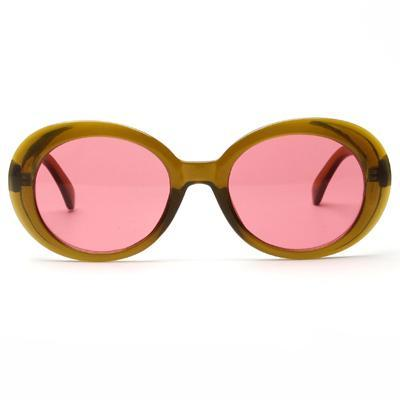 Samantha - Red Vintage Oval UV Sunglasses - Sunglass Society