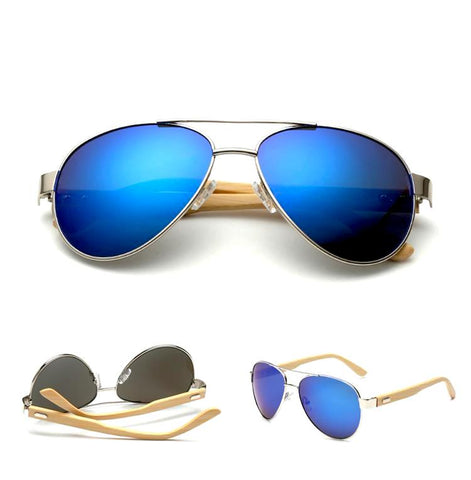 Zachary - Bamboo Aviator Sunglasses - Blue - SunShutterz