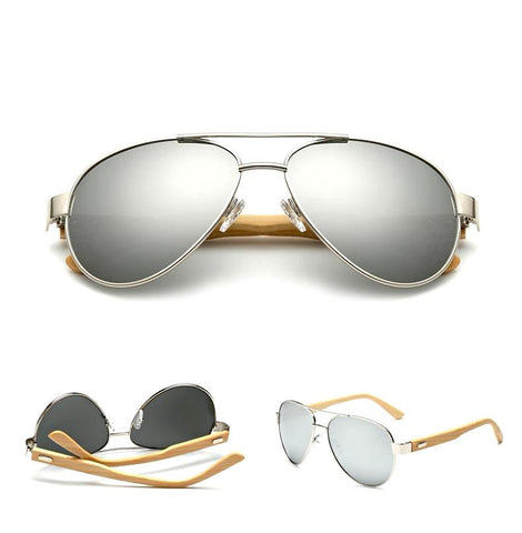 Logan - Silver Mirrored Aviator Sunglasses - Full Reflective Lenses - SunShutterz