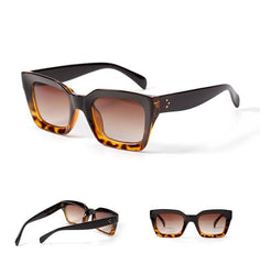 Caitlin - Leopard Retro Square Sunglasses - Sunglass Society