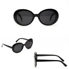 Victoria - Black Vintage Oval UV Sunglasses - Sunglass Society