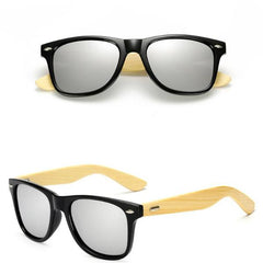 Ethan - Retro Bamboo Polarized Sunglasses - Black Silver - SunShutterz