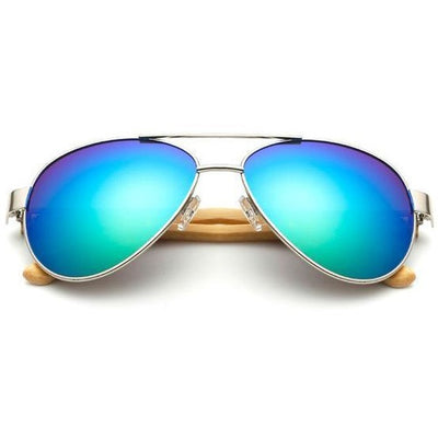 Reuben - Bamboo Aviator Sunglasses - Green - SunShutterz