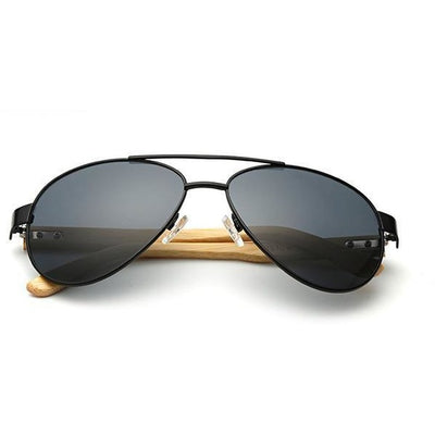 Peter - Bamboo Aviator Sunglasses - Black - SunShutterz
