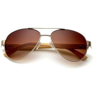 Caleb - Bamboo Aviator Sunglasses - Brown - SunShutterz