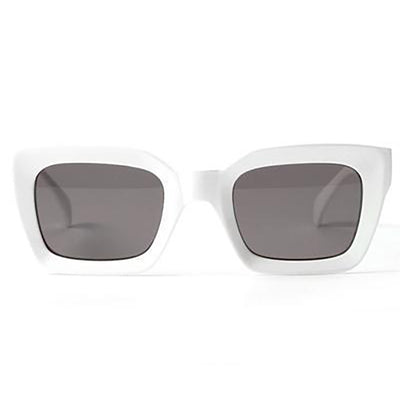 Holly - White Retro Square Sunglasses - SunShutterz