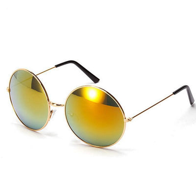 Adrianne - Retro Refelective Sunglasses - Gold - SunShutterz
