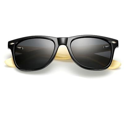 Luke - Retro Bamboo Polarized Sunglasses - Glossy Black - SunShutterz