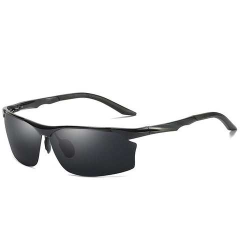 Max - Semi-Rimless Polarized Aluminum Sunglasses - Black - SunShutterz