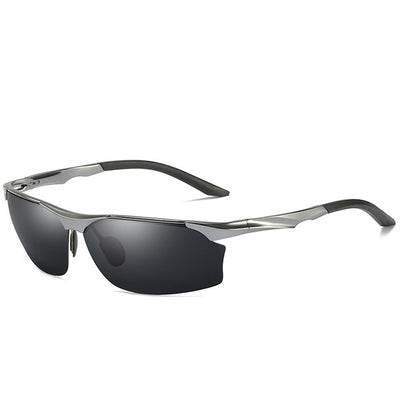 Sean - Semi-Rimless Polarized Aluminum Sunglasses - Grey - SunShutterz