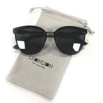 Natasha - Round Frame Cat Eye Sunglasses - Sunglass Society