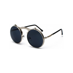 Casey - Steampunk Round Flip-Up Sunglasses - SunShutterz