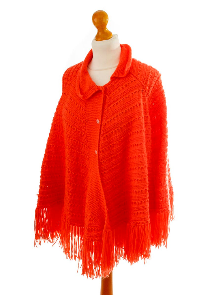Vintage Poncho orange Strick