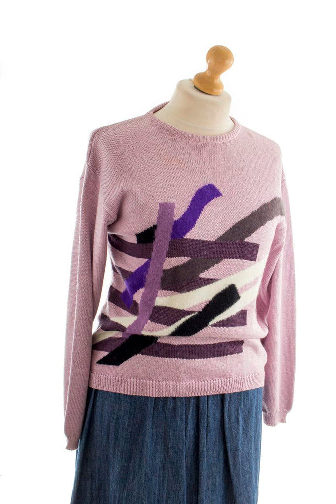 Vintage Pullover rosa Muster
