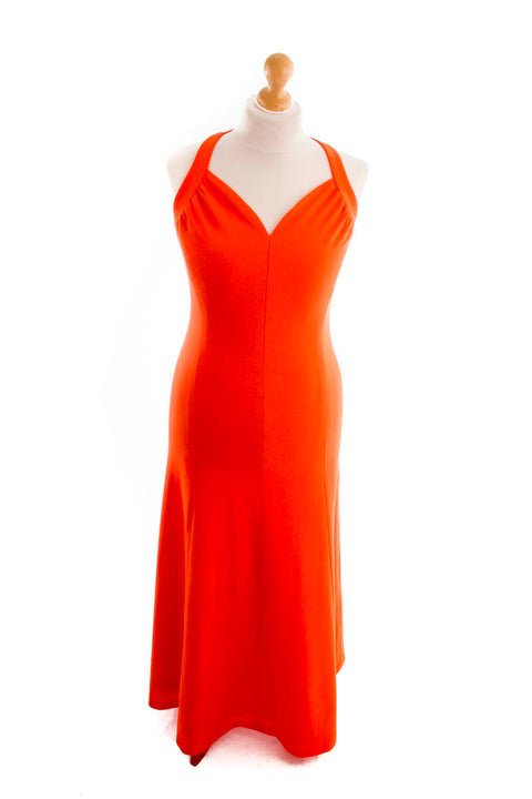 Vintage Abendkleid lang orange