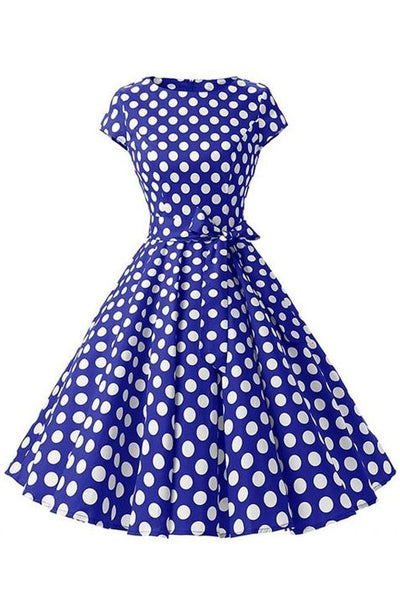 Retro Pin Up Polka Dot Kleid blau-weiß