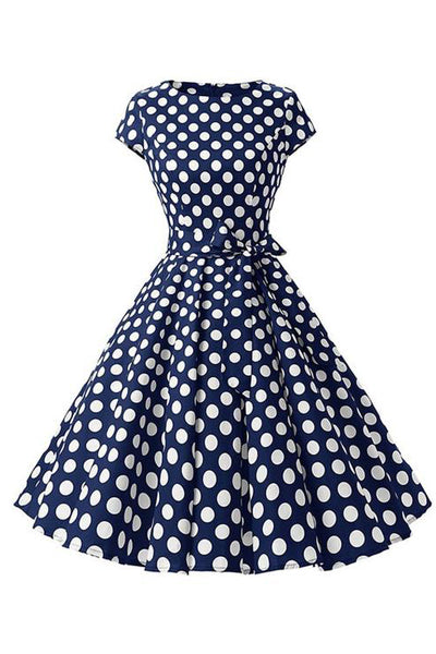 Retro Pin Up Polka Dot Kleid dunkelblau-weiß