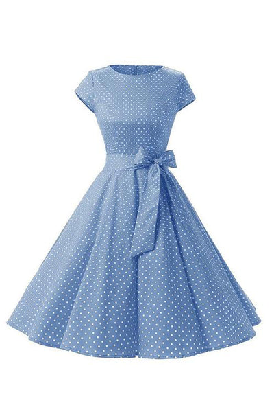 Retro Pin Up Polka Dot Kleid himmelblau