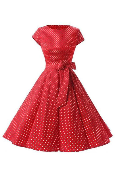 Retro Pin Up Polka Dot Kleid rot