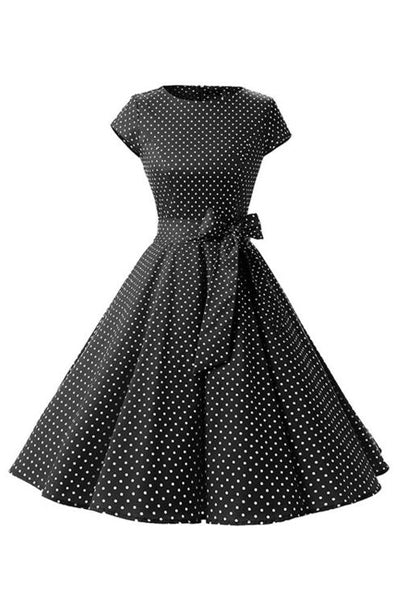 Retro Pin Up Polka Dot Kleid schwarz