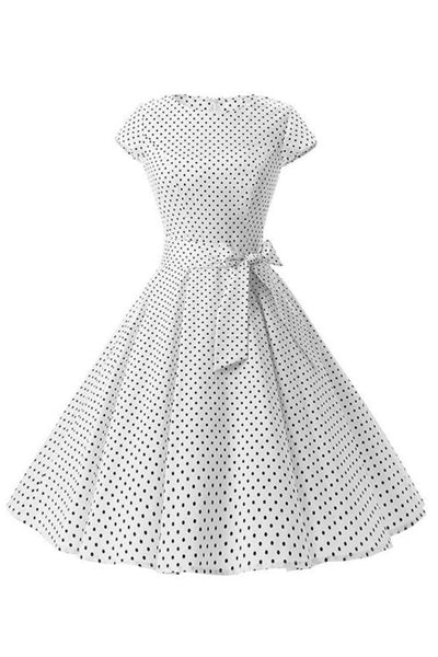 Retro Pin Up Polka Dot Kleid weiß
