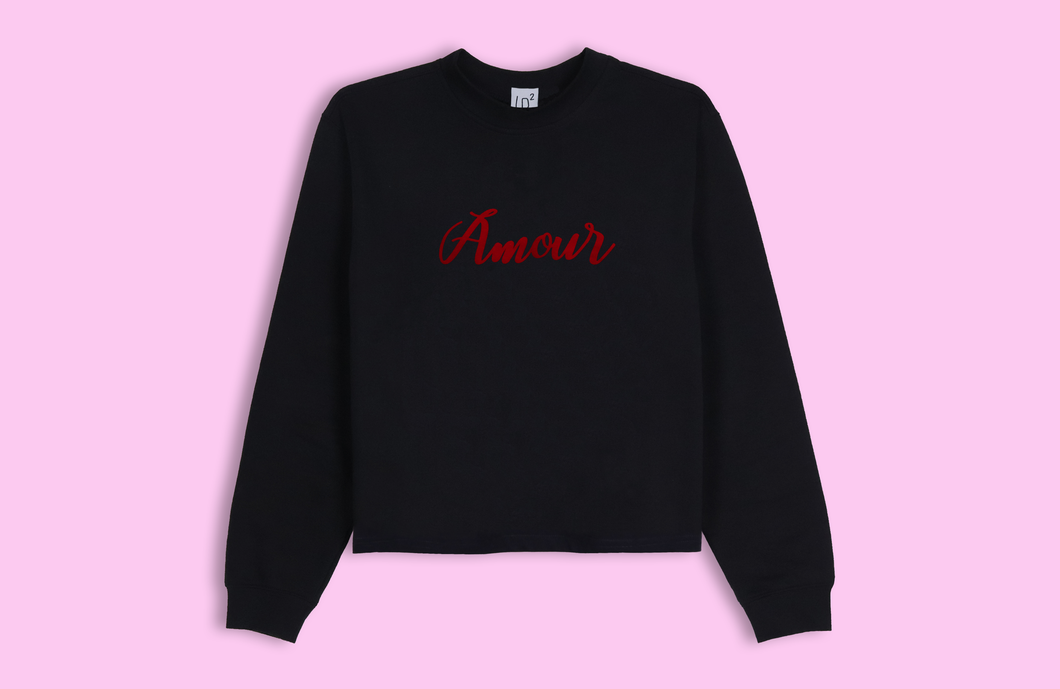 AMOUR black crop sweater