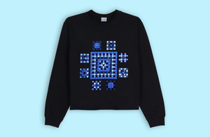 ETHNIC MOSAIC black crop sweater