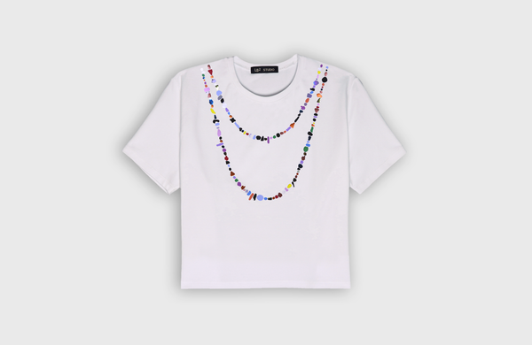 HIPPIE NECKLACE - cropped t-shirt