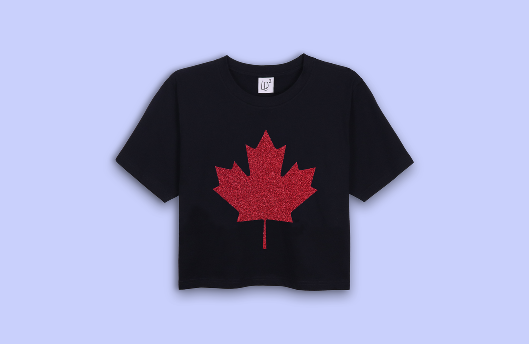 MAPLE LEAF black crop t-shirt