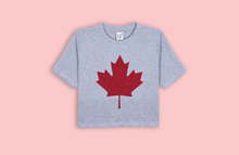MAPLE LEAF grey crop t-shirt