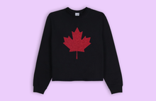 MAPLE LEAF black crop sweater
