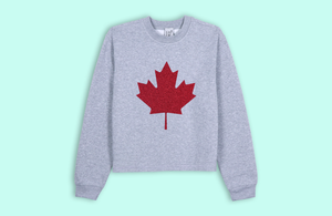 MAPLE LEAF grey crop sweater