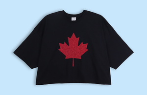 MAPLE LEAF black crop oversized t-shirt