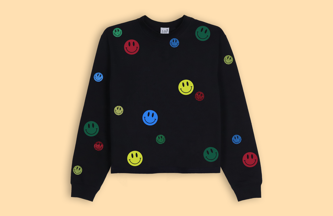 SMILEYS black crop sweater