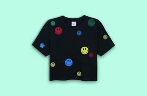 SMILEYS black crop t-shirt