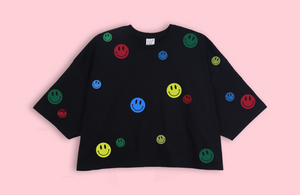 SMILEYS black crop oversized t-shirt